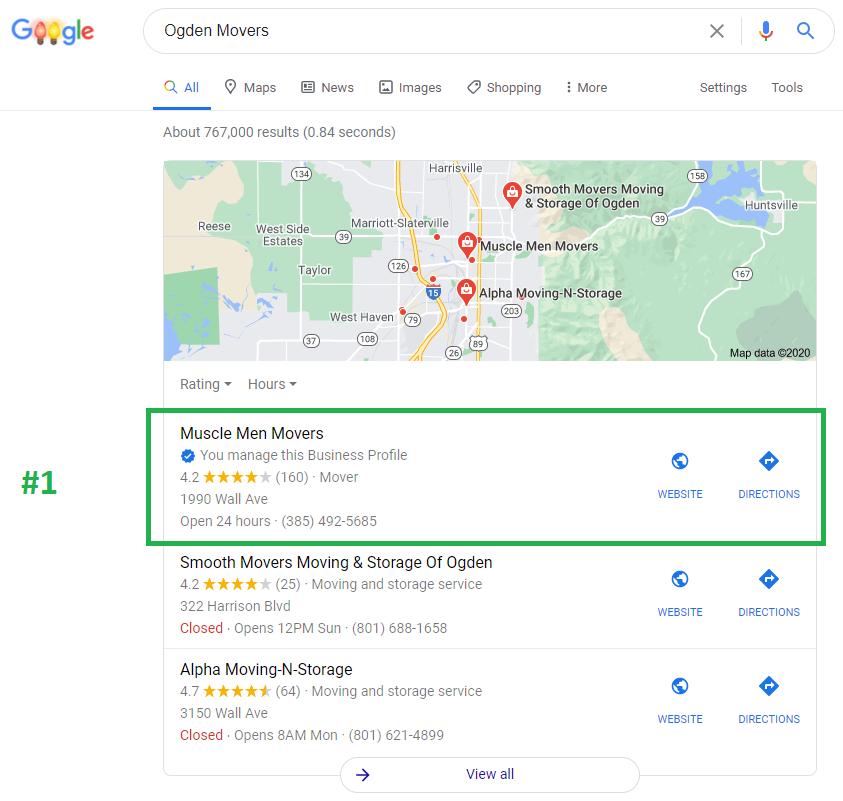 Google Maps SEO Moving Company